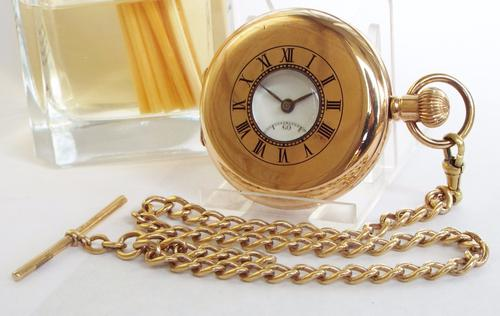 1930s Half Hunter Pocket Watch with Chain (1 of 1)