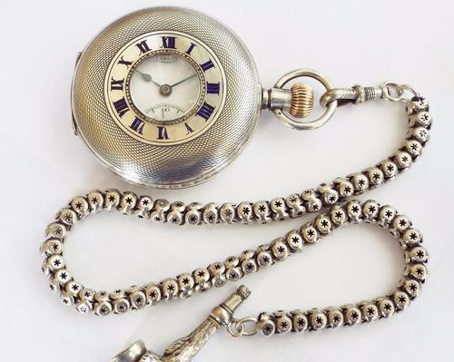 1918 Silver Limit Half Hunter Pocket Watch & Chain (1 of 1)