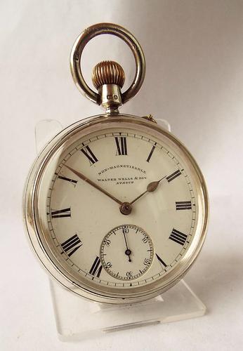 Antique 1901 Silver English Pocket Watch,W. Wells Stroud (1 of 1)