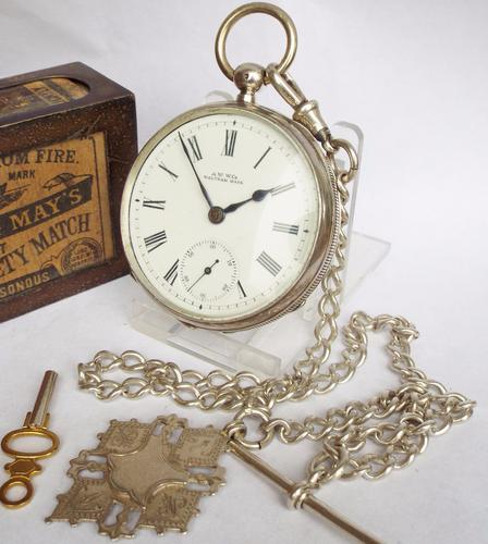 Antique Waltham Silver Pocket Watch with Chain (1 of 1)