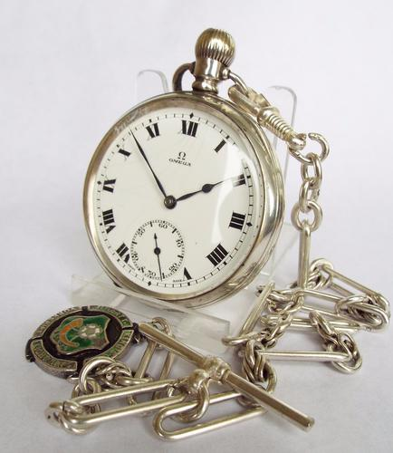 1920s Silver Omega Pocket Watch & Chain (1 of 1)