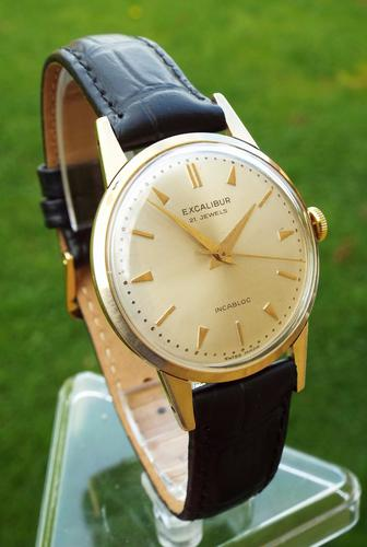 Gents 9ct Gold Excalibur Wrist Watch, 1962 (1 of 1)
