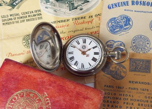 1930s Boxed Roskopf Patent Hunter Pocket Watch (1 of 1)