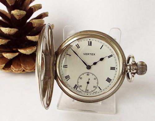Vintage 1949 Silver Vertex Half Hunter Pocket Watch (1 of 1)