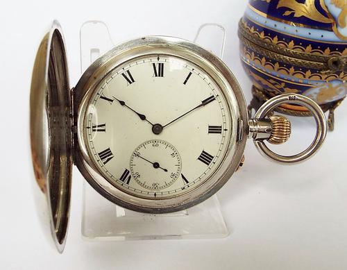 Antique 1911 Silver Half Hunter Pocket Watch (1 of 1)