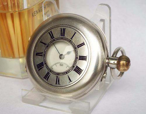 Antique Swiss Silver Half Hunter Pocket Watch (1 of 1)