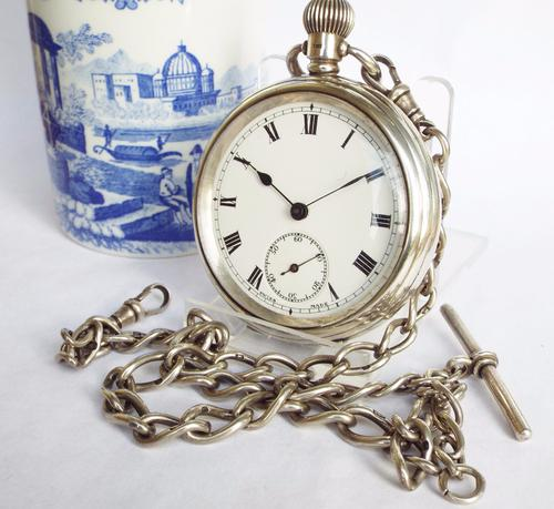 1921 Silver Open Faced Pocket Watch & Chain (1 of 1)
