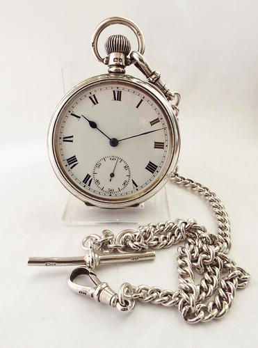 1926 Silver English Lever Pocket Watch with Albert Chain (1 of 1)