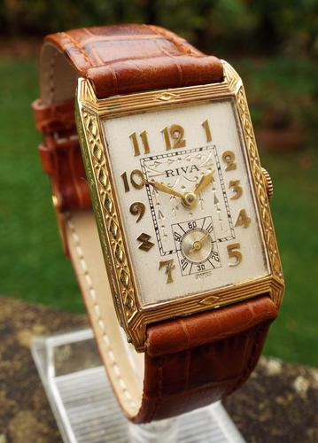 Gents 18ct Gold Riva Wrist Watch, 1940s (1 of 1)
