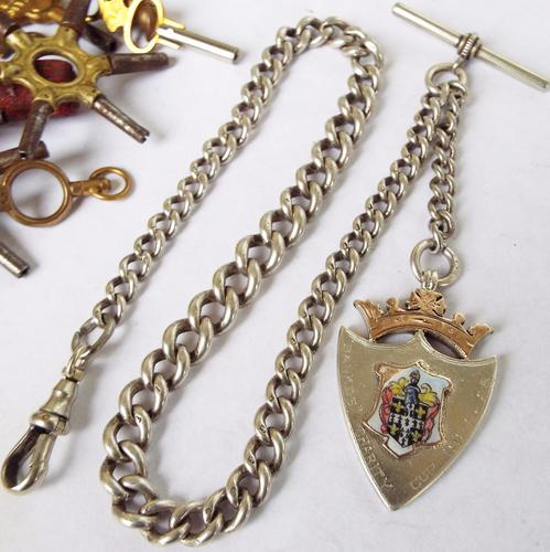 Antique Silver Single Watch Chain with Fob (1 of 1)