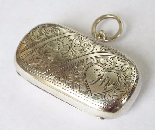 Antique Silver Double Sovereign Holder, Walker & Hall (1 of 1)