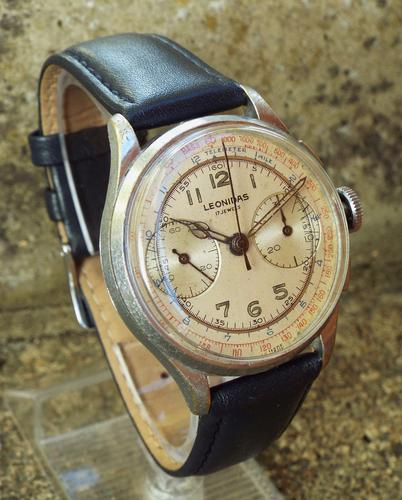 Gents 1940s Leonidas Chronograph Wrist Watch (1 of 1)