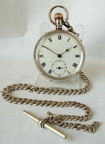 Antique 1905 Silver Satisfaction Pocket Watch & Chain Probably by L Tieche Gammeter (1 of 1)