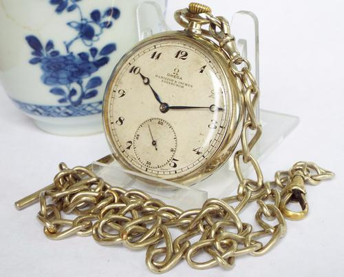 1930s Omega Pocket Watch & Chain (1 of 1)