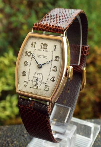 Gents 9ct Rose Gold Paramount Corrector Wrist Watch (1 of 1)