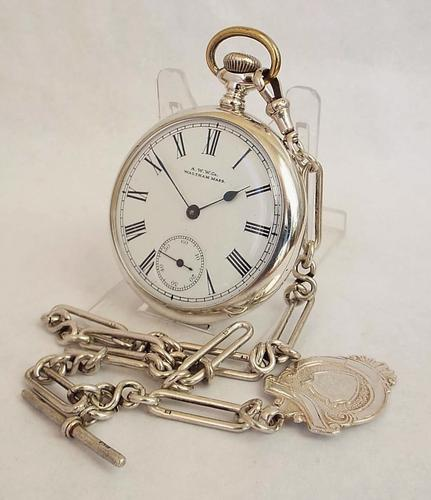 1920s Silver Waltham Pocket Watch & Chain (1 of 1)