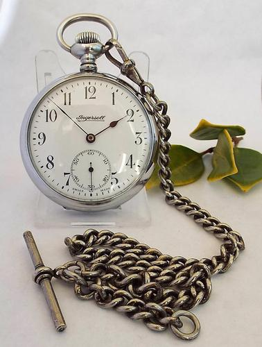 1920s Ingersoll Pocket Watch with Chain (1 of 1)