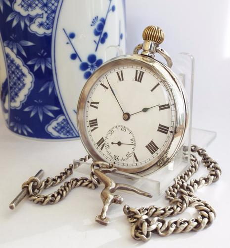 Antique Silver Record Pocket Watch with Chain (1 of 1)