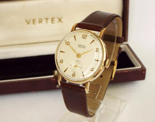 Gents Boxed 9ct Gold Vertex Revue Watch, 1963 (1 of 1)