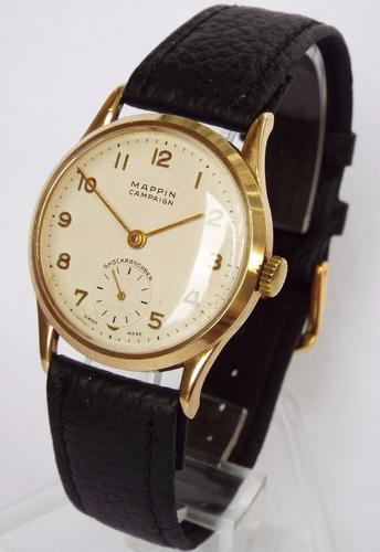 Gents 9ct Gold Mappin Campaign Wristwatch, 1950s (1 of 1)