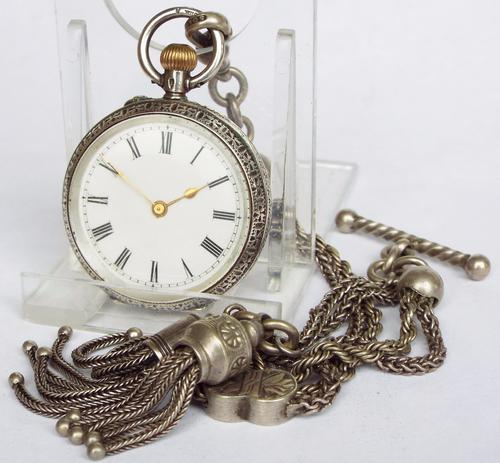 Ladies Swiss Fob Watch with Albertina c.1900 (1 of 1)