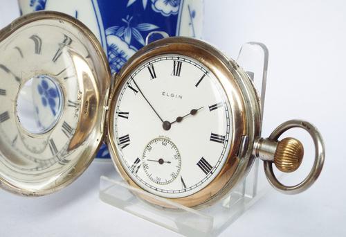 Antique 1918 Silver Elgin Half Hunter Pocket Watch (1 of 1)