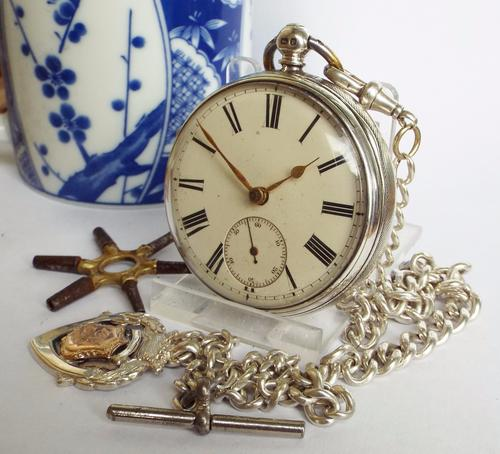Antique Fusee Pocket Watch by Johnson, Sheffield, with Silver Albert (1 of 1)