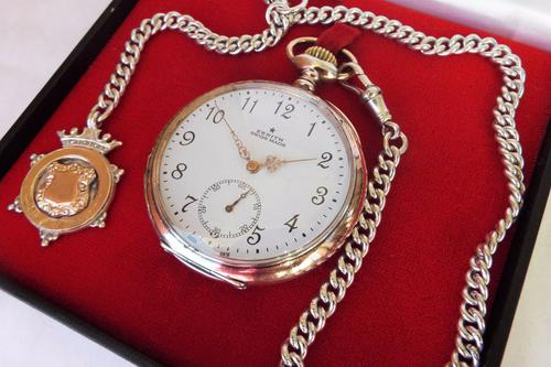 Antique Zenith Silver Pocket Watch with Chain (1 of 1)