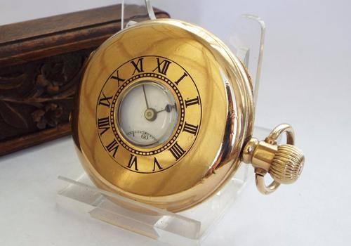 1940s Gold Plated Half Hunter Pocket Watch (1 of 1)
