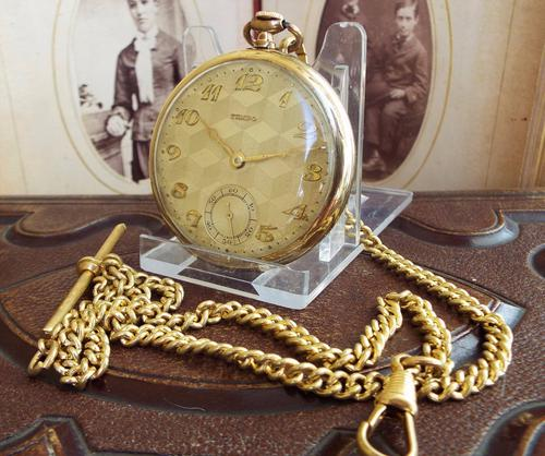 1930s Tempo Pocket Watch with Double Albert (1 of 1)