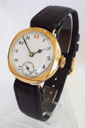 Gents 9ct Gold Swiss Wrist Watch, 1922 (1 of 1)