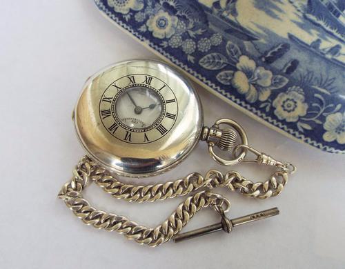 1930 Silver Half Hunter Pocket Watch & Albert (1 of 1)