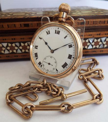 1930s Gold Plated Pocket Watch & Albert (1 of 1)