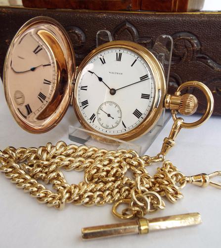 1905 Waltham Full Hunter Pocket Watch & Silver Gilt Albert (1 of 1)