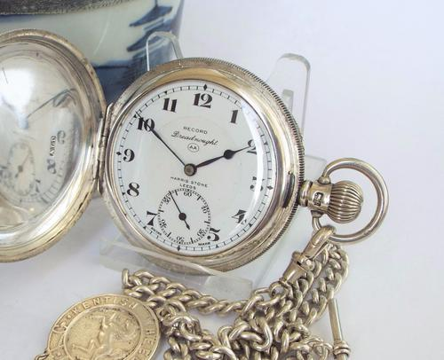 1929 Silver Record Dreadnought Hunter Pocket Watch (1 of 1)