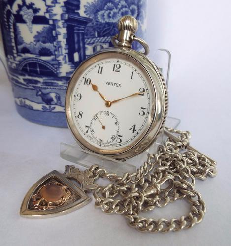 Antique Silver Vertex Pocket Watch & Albert (1 of 1)