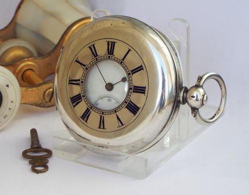Antique Silver Half Hunter Pocket Watch (1 of 1)