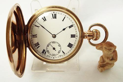 1930s Swiss Gold Plated Full Hunter Pocket Watch (1 of 1)