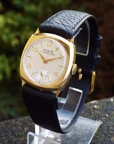 Mid-Size 9 Carat Gold H&G Wrist Watch, 1962 (1 of 1)