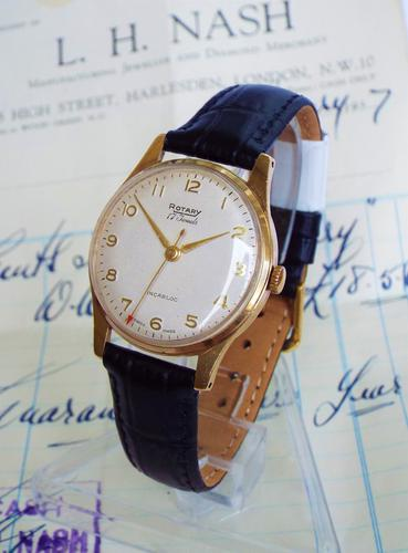 Gents 9ct Gold Rotary Watch 1957, Original Receipt (1 of 1)