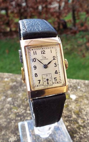 Gents 9 Carat Gold Record Wrist Watch 1949 (1 of 1)