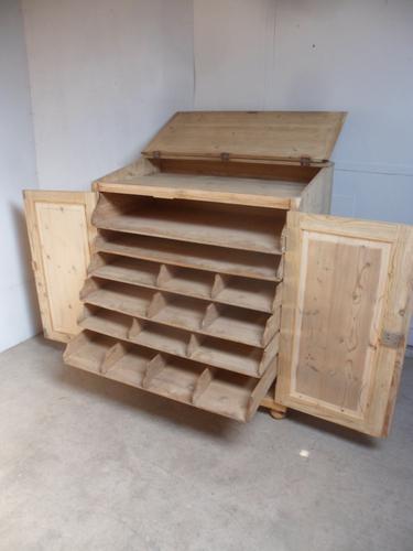 Rare Victorian Antique Pine 2 Door 6Slide Industrial / Shop Fitting Cupboard (1 of 11)