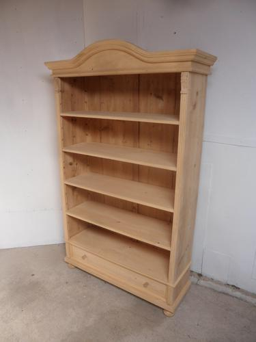 Cracking Arch Top Antique Pine 1 Drawer Book / Office Shelves to wax/ paint (1 of 9)