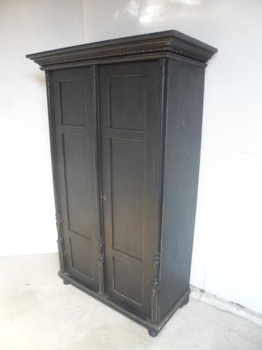 Lovely Victorian Antique Pine Painted Black 1 Piece Linen / Hall Wardrobe (1 of 11)