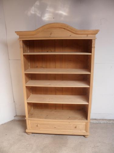 Superb Arch Top Antique Pine 1 Drawer Book / Office Shelves to Wax / Paint (1 of 6)