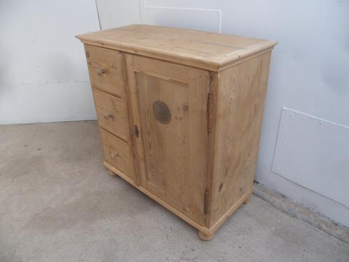 Victorian 1 Door 3 Drawer Antique Pine Kitchen / Storage Cupboard to wax / paint (1 of 13)