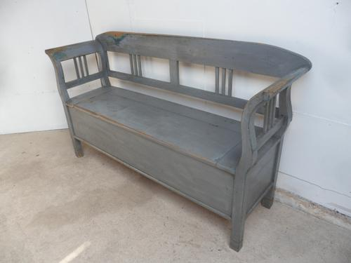 Large Painted Grey Victorian Antique Pine Hall / Kitchen Box / Settle / Bench (1 of 9)