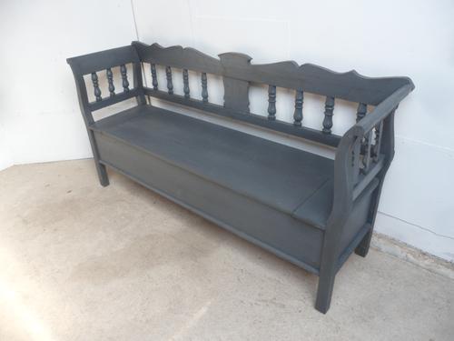 Large Painted Battleship Grey Antique Pine Hall / Kitchen Box / Settle / Bench (1 of 9)