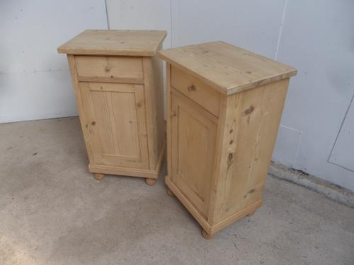 Lovely Tall Pair of Antique Pine Victorian Bedside Cabinets to wax / paint (1 of 8)