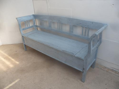 Large Painted Sky Blue 3 Seater Antique Pine Hall / Kitchen Box / Settle / Bench (1 of 8)